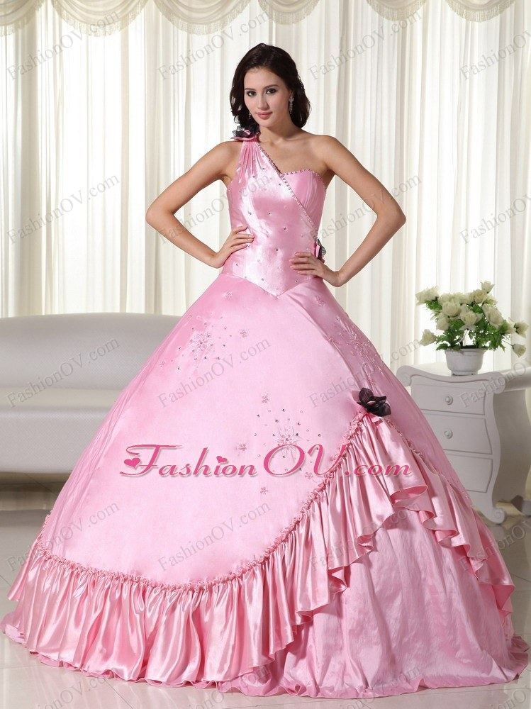Baby Pink One Shoulder Taffeta Beading Quinceanera Dress