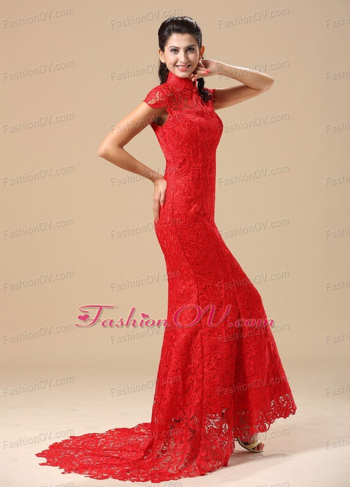 High-neck Short Sleeves Lace Skirt 2013 Prom Dress