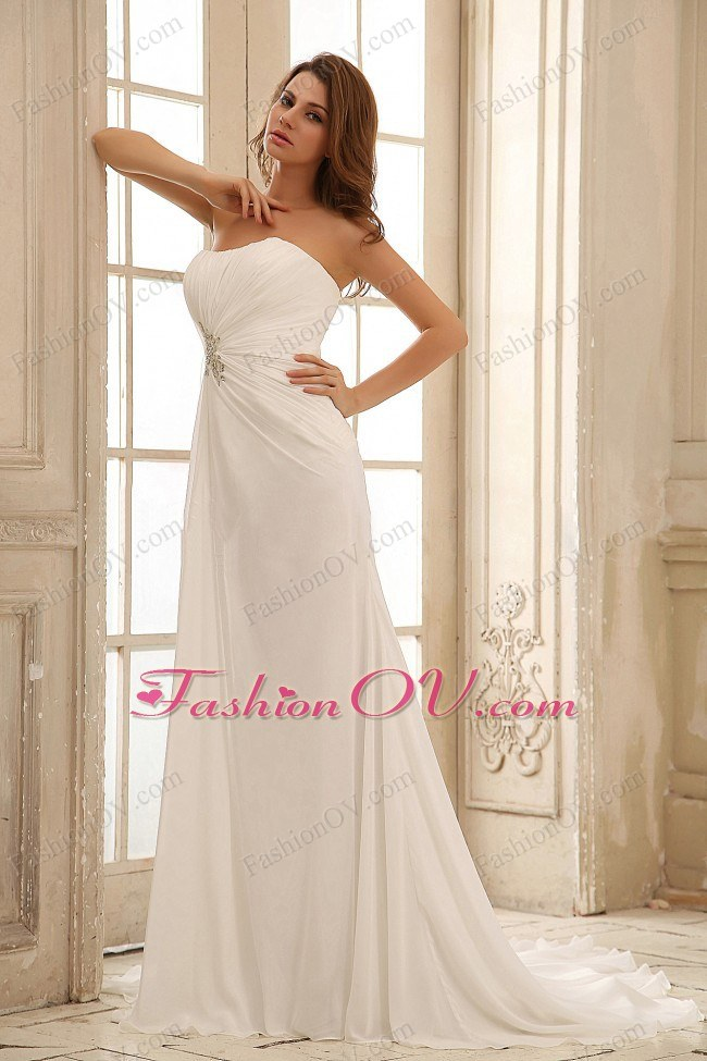 Simple Empire Princess Wedding Dress Beading Ruch