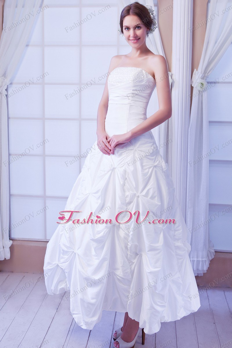 Strapless Ankle-length Taffeta Sequin Wedding Dress with Pick Ups