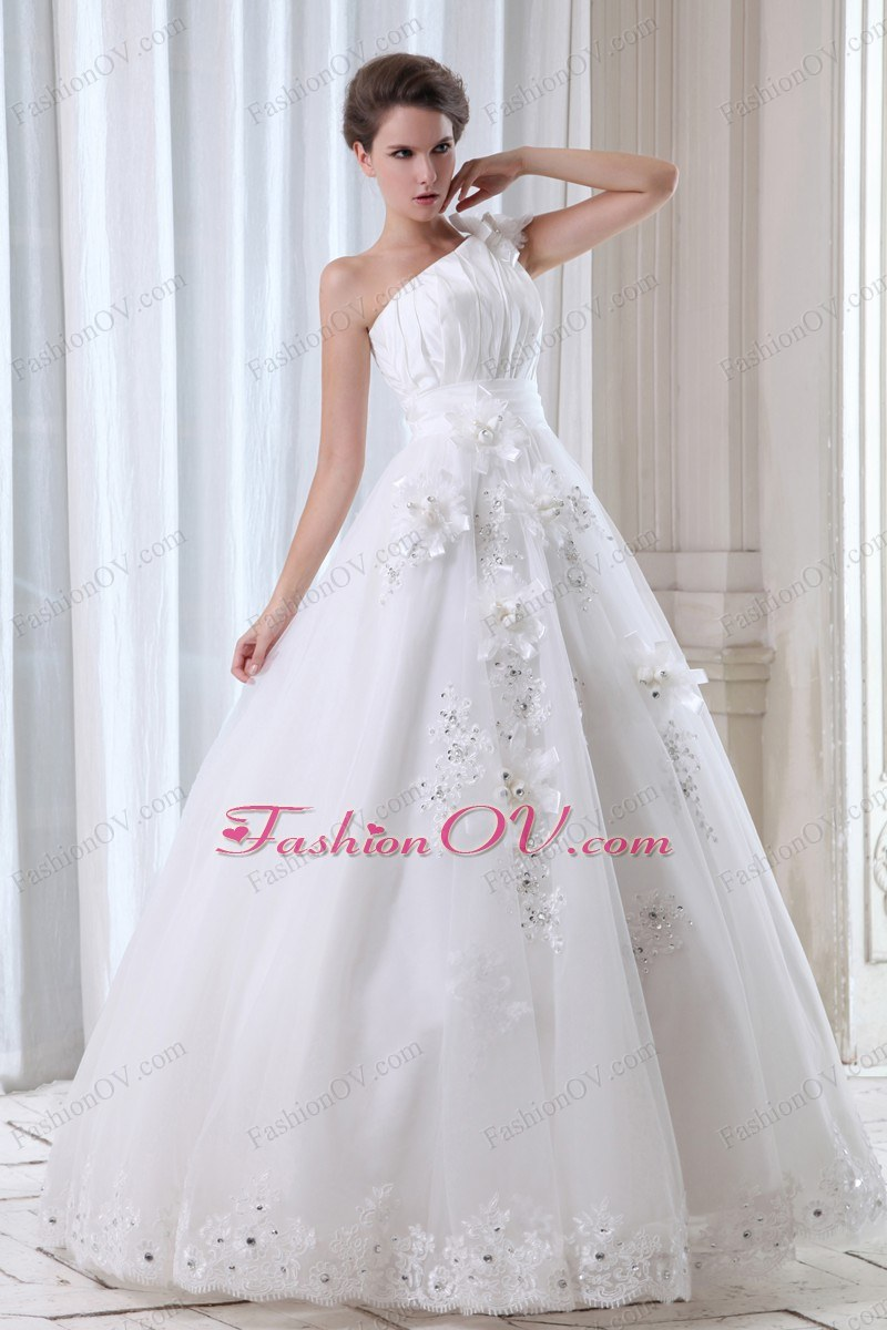 One Shoulder Floor-length Tulle Beading and Appliques Bridal Gown