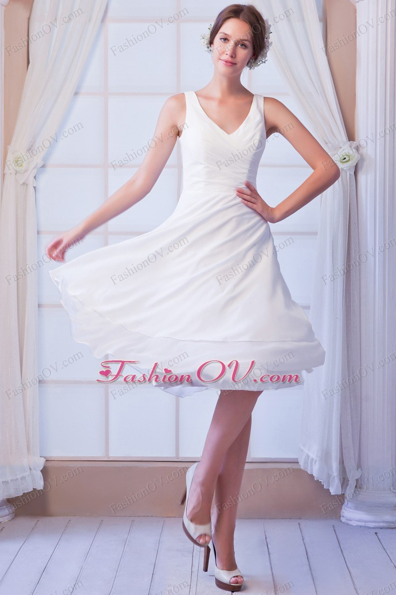 Simple A-line V-neck Knee-length Chiffon Wedding Dress for Beach