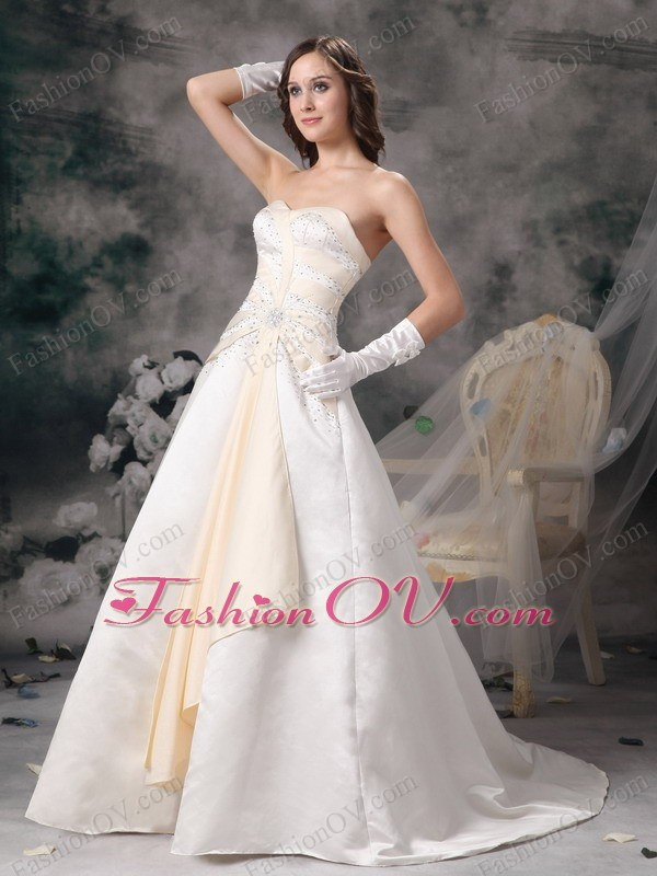 White and Champagne A-line Sweetheart Beading Wedding Dress