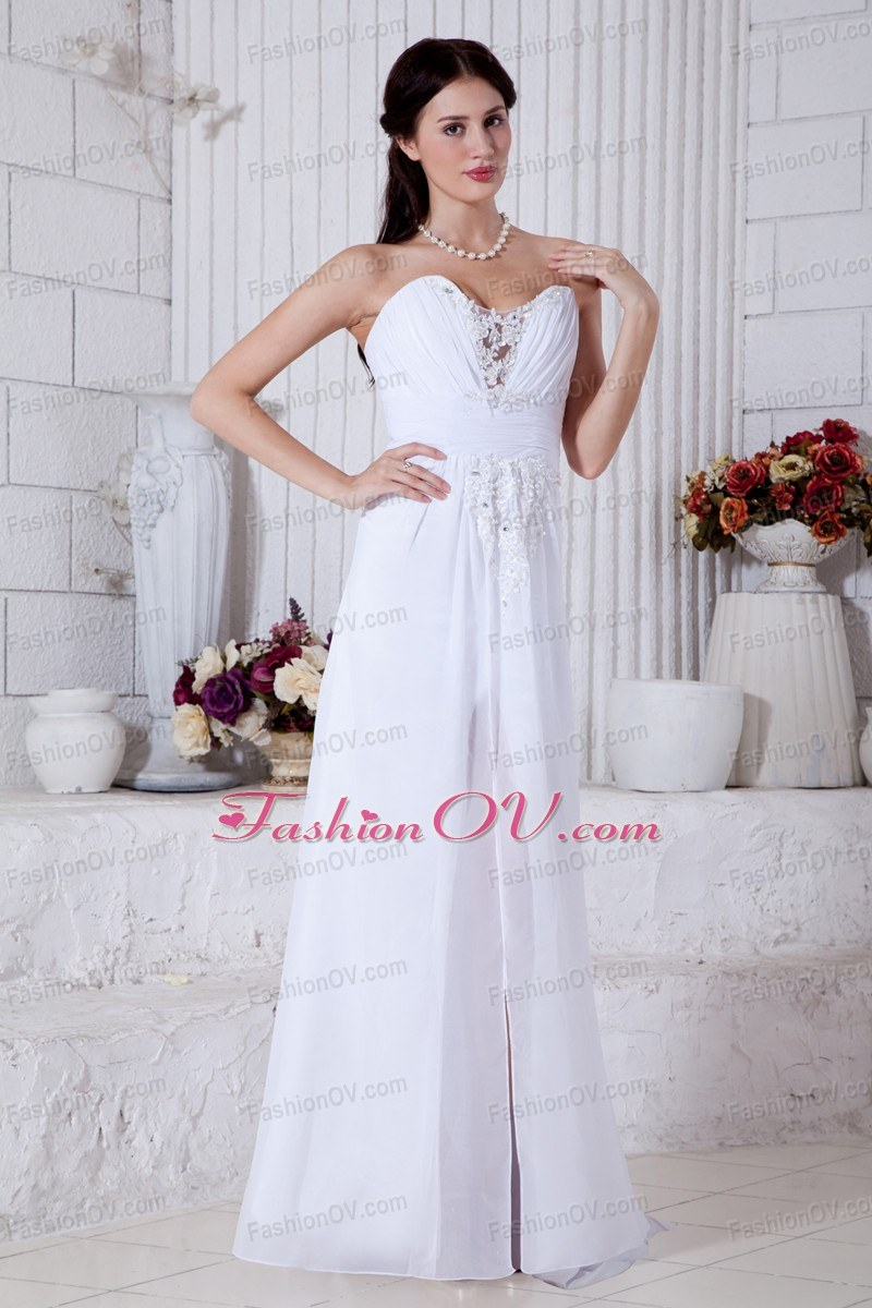 White Appliques Wedding Dress Empire Chiffon Sweetheart