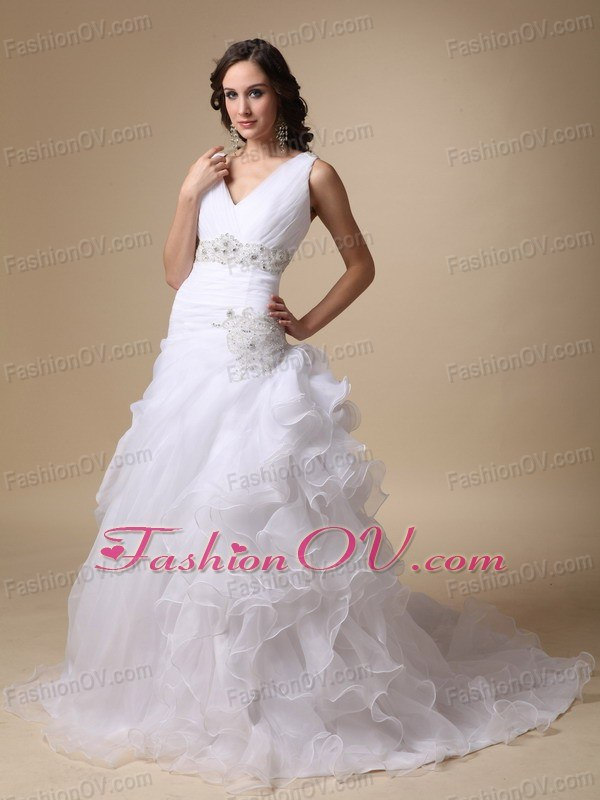 V-neck Court Train Straps Beading Ruffles Wedding Dresses