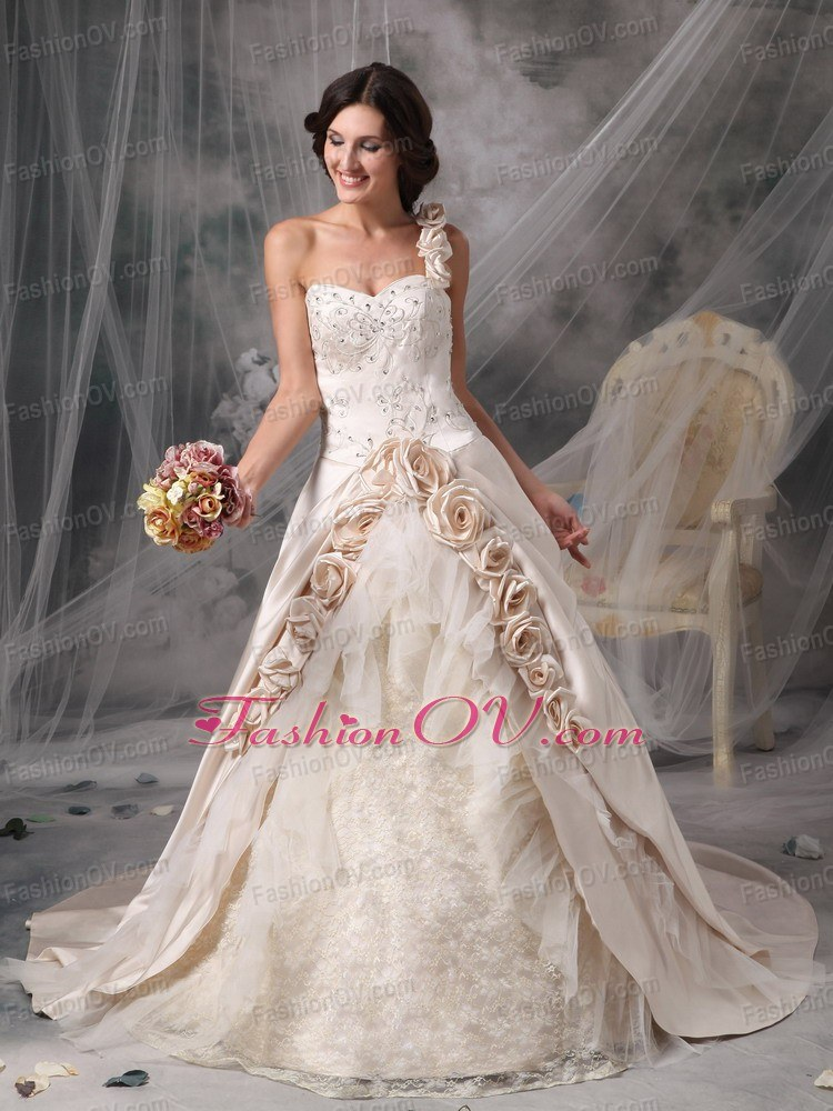 Champagne Bridal Gowns One Shoulder Chapel Train Hand Flowers