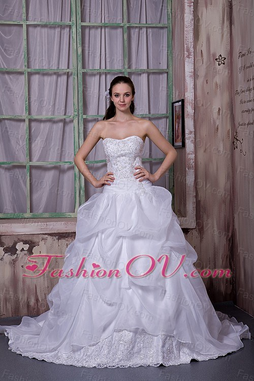 Chapel Train Wedding Dress Taffeta Organza Appliques A-line