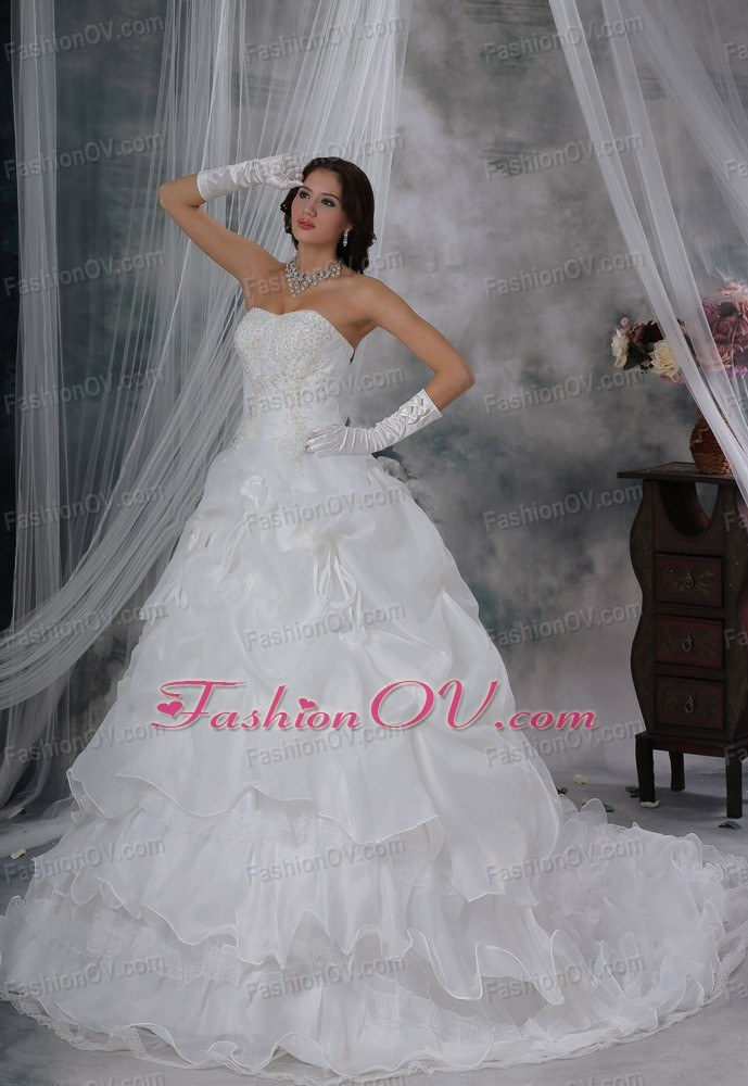 Hand Made Flowers Pick-ups Wedding Bridal Dress Beaded