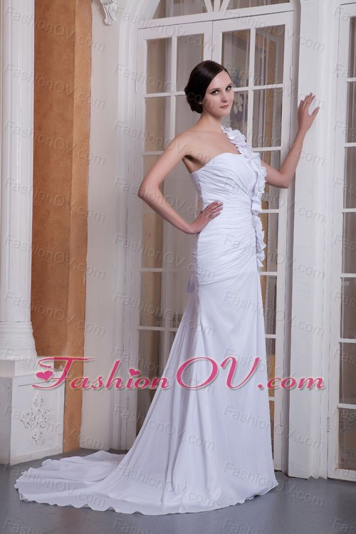 Hand Made Flower Wedding Dress One Shoulder Brush Chiffon