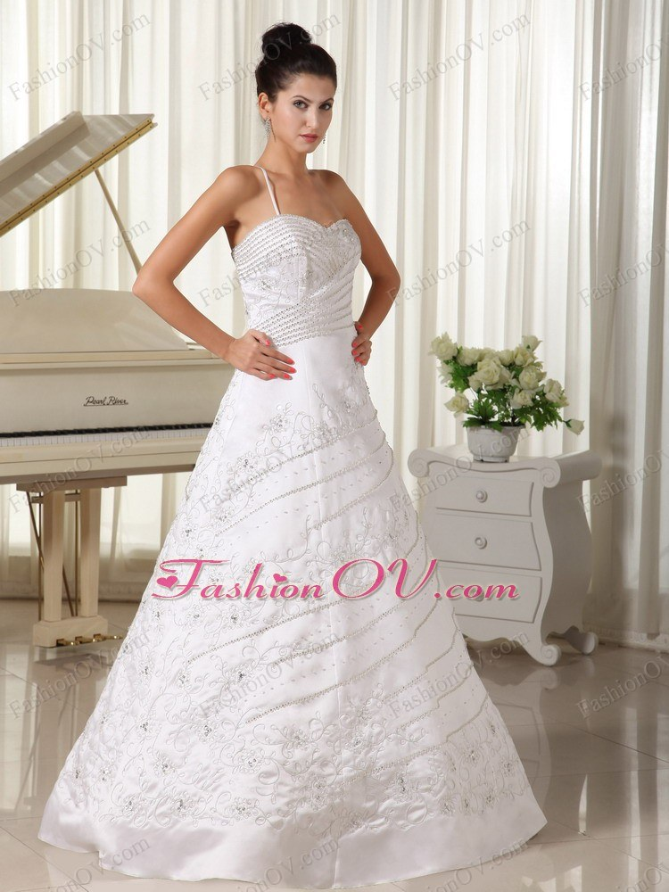 One Strap Beaded A-line Wedding Dress with Embroidery