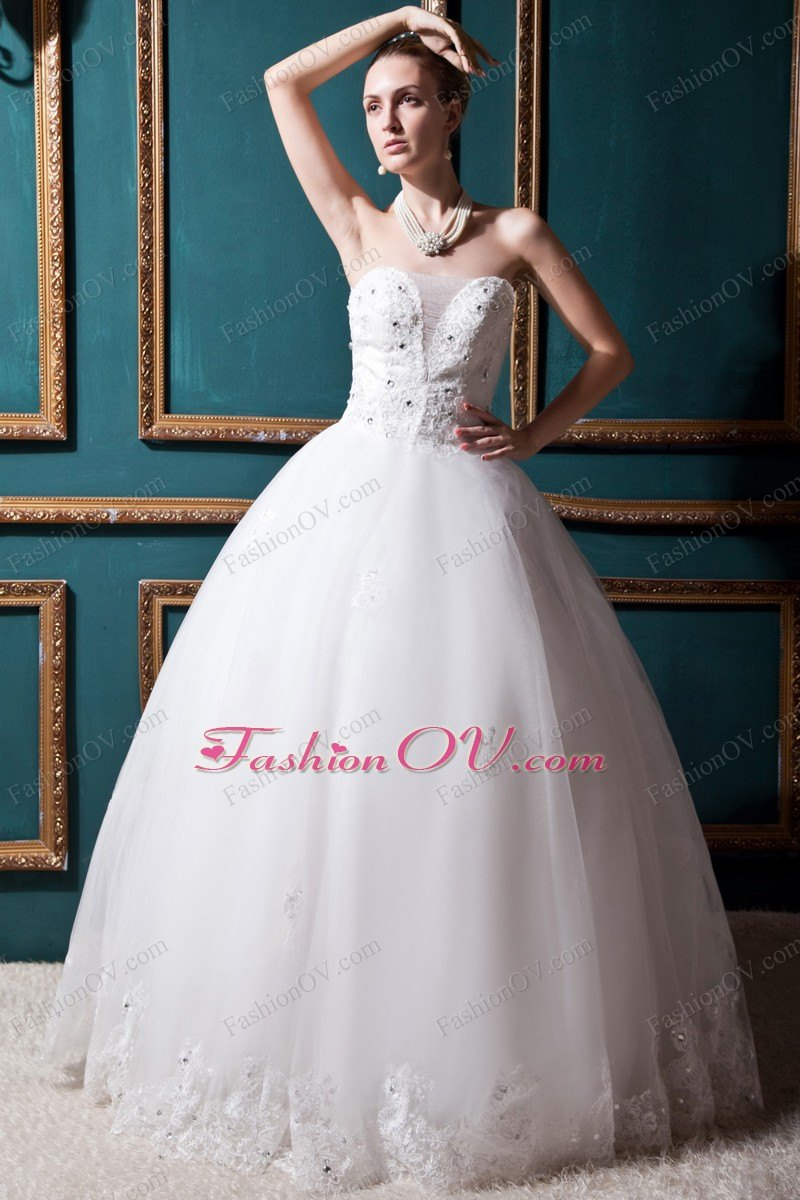 Lace Hem Ball Gown Wedding Dress with Special Designed Bust