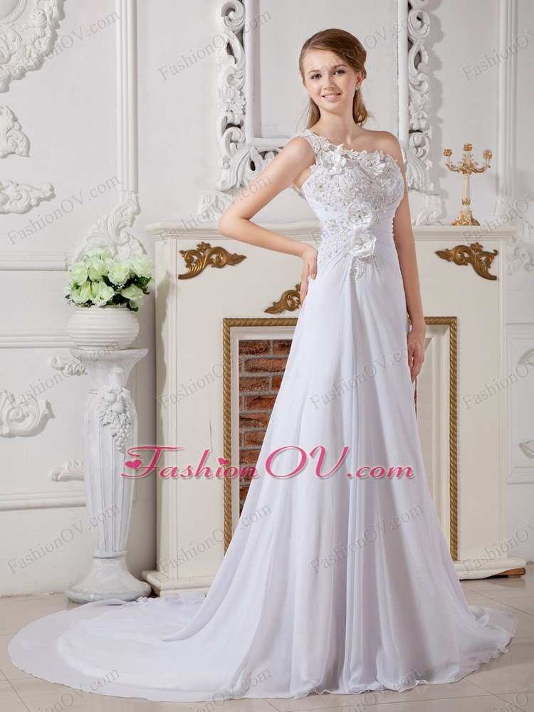 Cheap One Shoulder Court Train Wedding Dress with Appliques