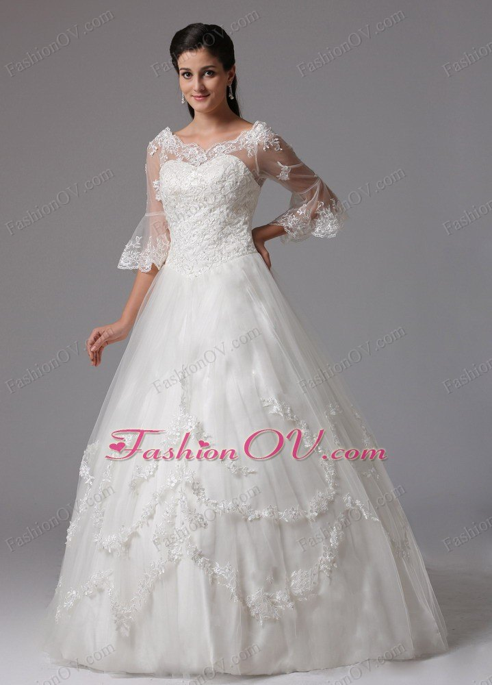 Sleeves Lace V-neck Ball Gown Wedding Dress