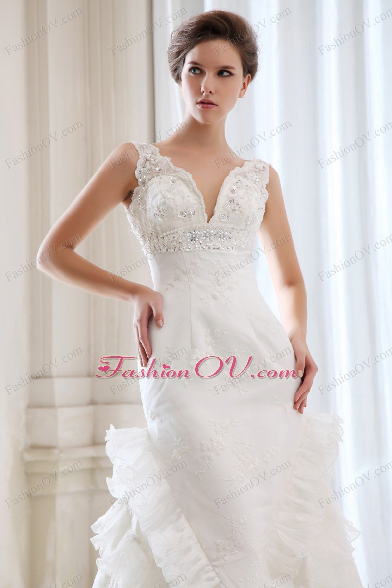 Mermaid V-neck Wedding Dress Lace Embroidery Ruched Ruffles
