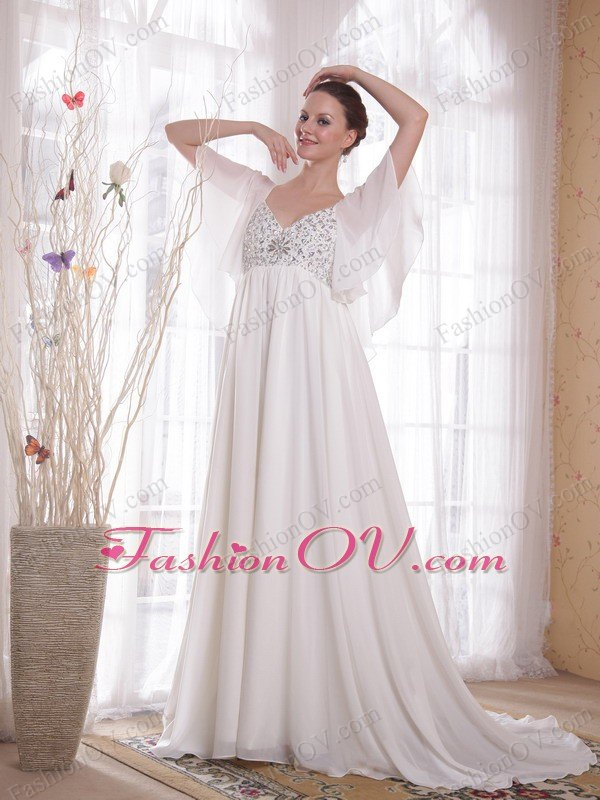 V-neck Chiffon Beading Wedding Dress Butterfly Sleeves