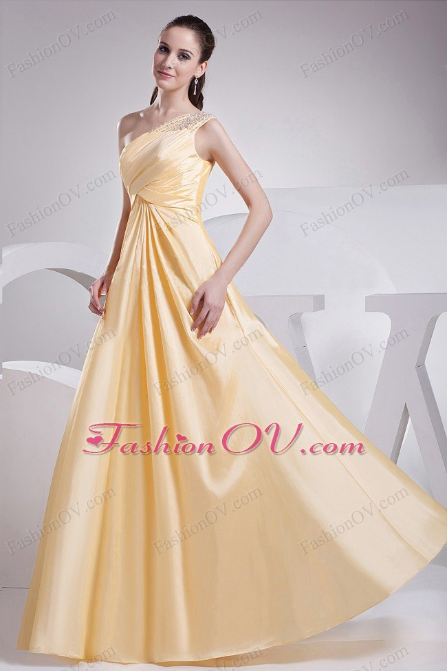 Beading and Ruching One Shoulder A-line Prom Dress