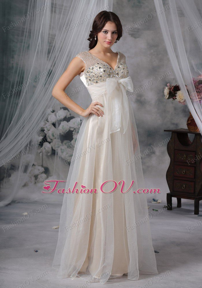 V-neck Champagne Empire Organza Beading Prom Dress