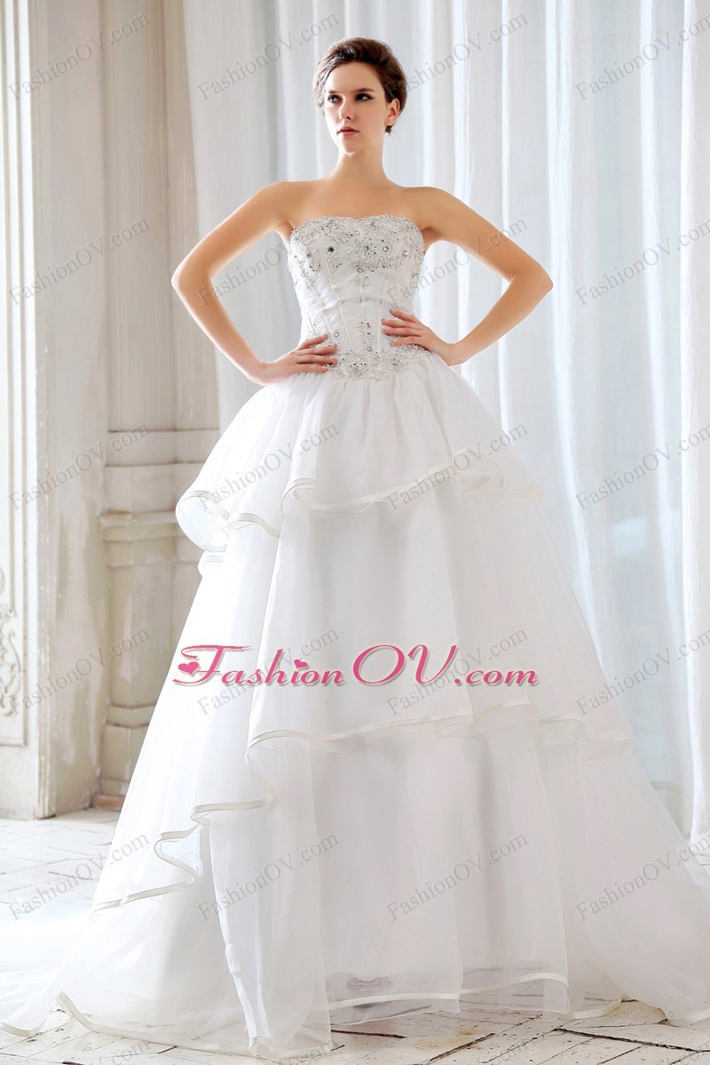 Strapless Court Train Beading Strapless Wedding Dress