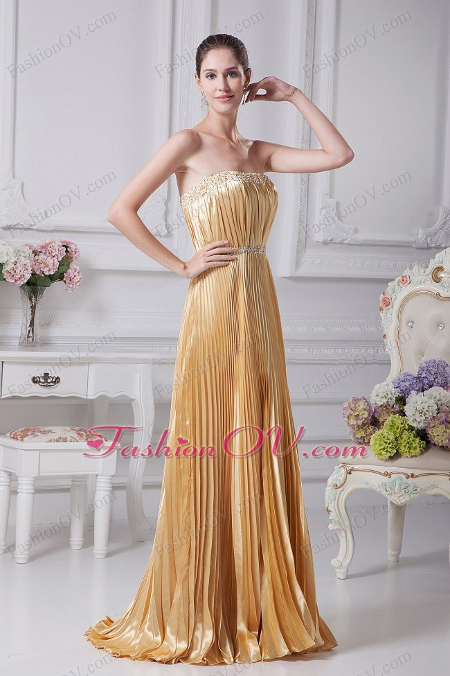 Pleat Over Skirt and Beading For Gold Prom Dress