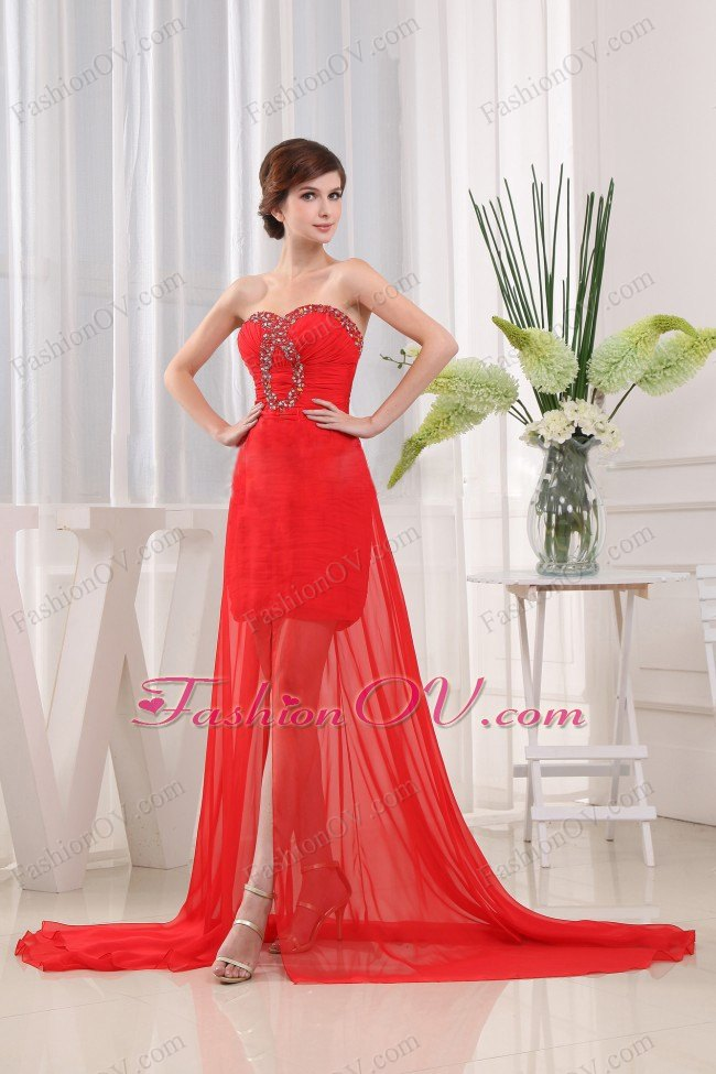 Red Prom Dress Sweetheart Brush Train Beading High-low