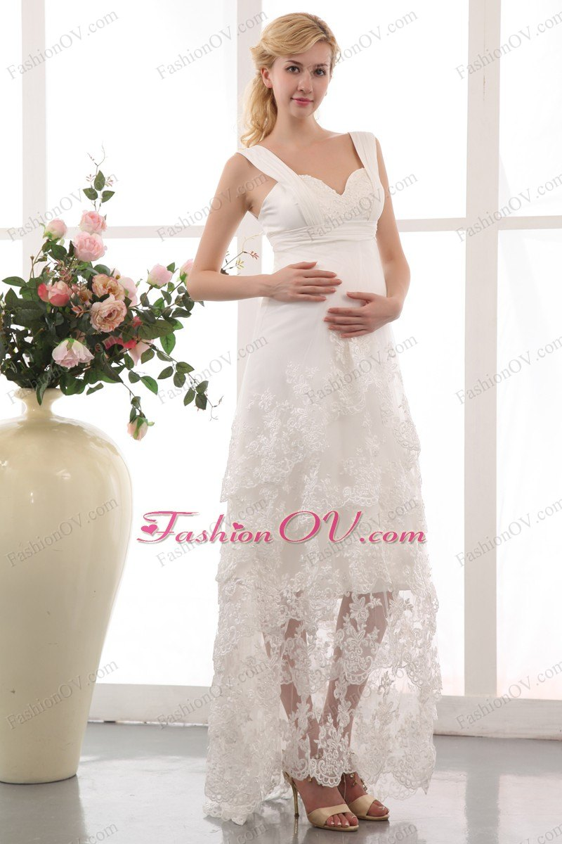 Lace Ankle Length Straps Maternity Wedding Dress
