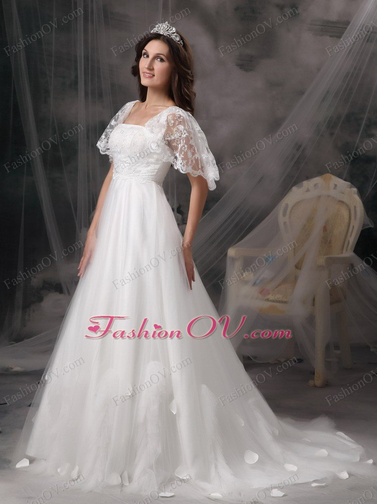 Sleeves Lace Sweep Train A Line Square Neck Wedding Dress