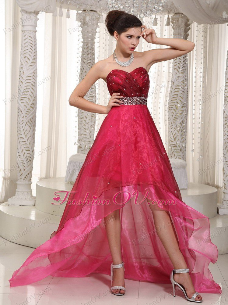 Wine Red High Low Party Dress Sweetheart Beading