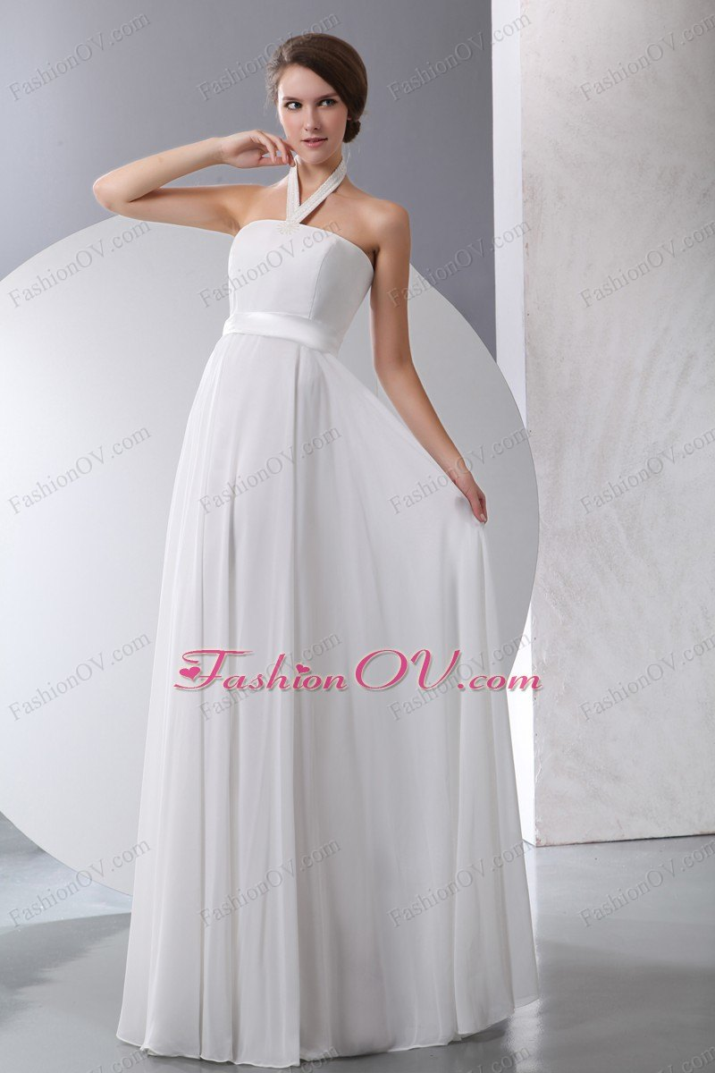 Halter Chiffon Wedding Dress Sash Chiffon Empire
