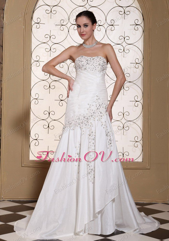 Sweep Train Wedding Dress Mermaid Beading Taffeta