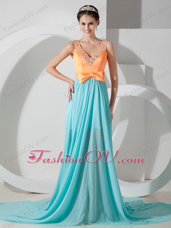 Aqua Blue and Orange Empire V-neck Brush Train Beading Prom Dress