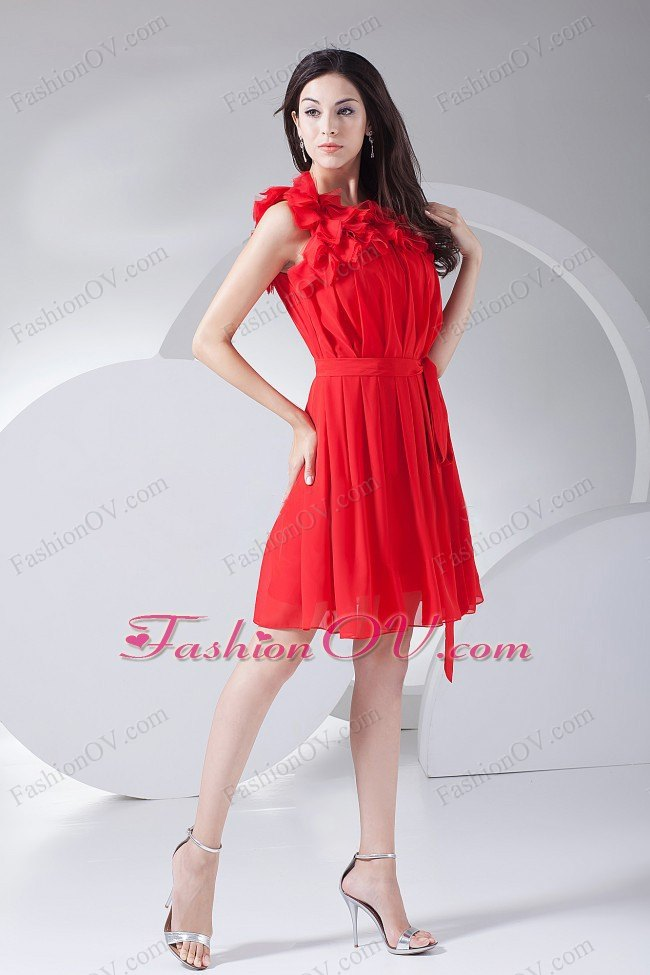 Hand Made Flower Red Pleated Knee-length 2013 Prom Dress