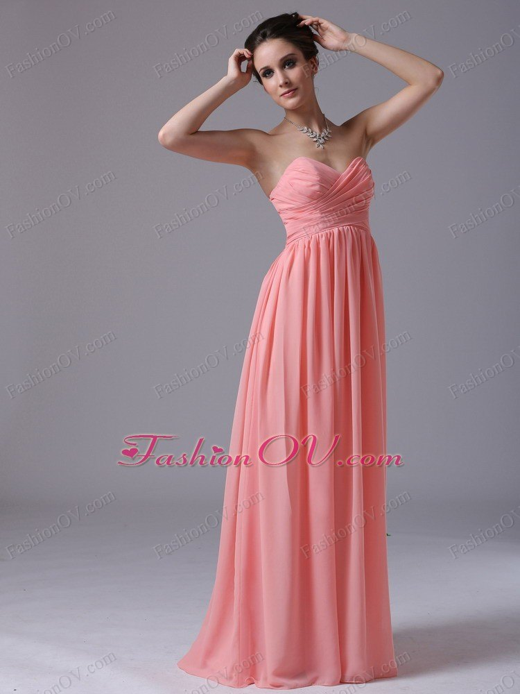 Watermelon Sweethear Floor-length Prom Dress Ruched