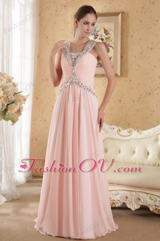 Beaded Pink Straps Court Train Prom / Evening Dress