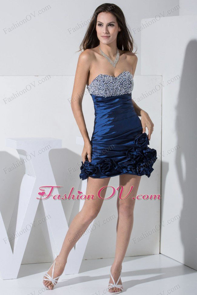 Navy Blue Beaded Bust Hand Made Flowers Mini-length Prom Dress