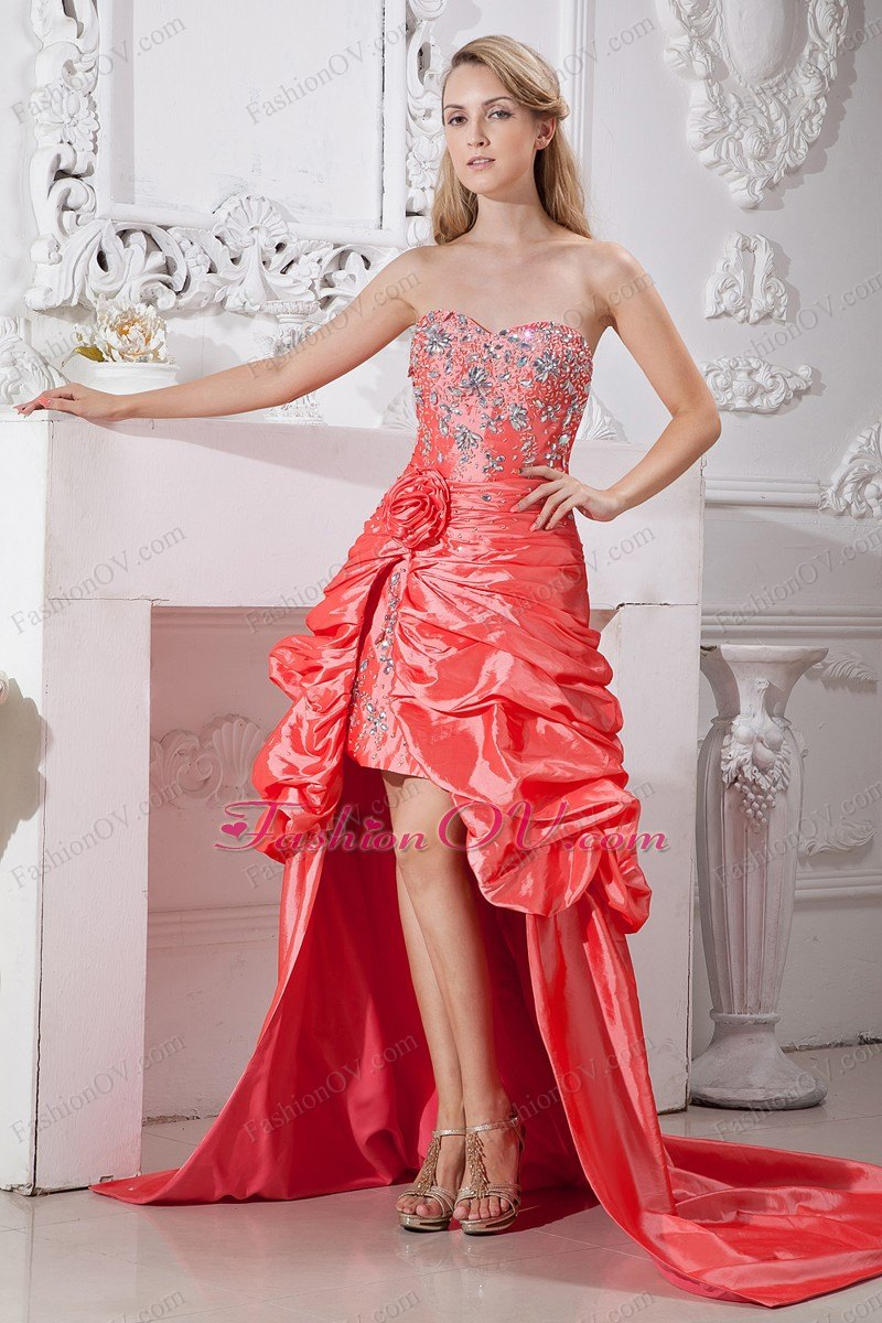 Watermelon Red High-low Hand Made Flowers and Beading Prom Dress