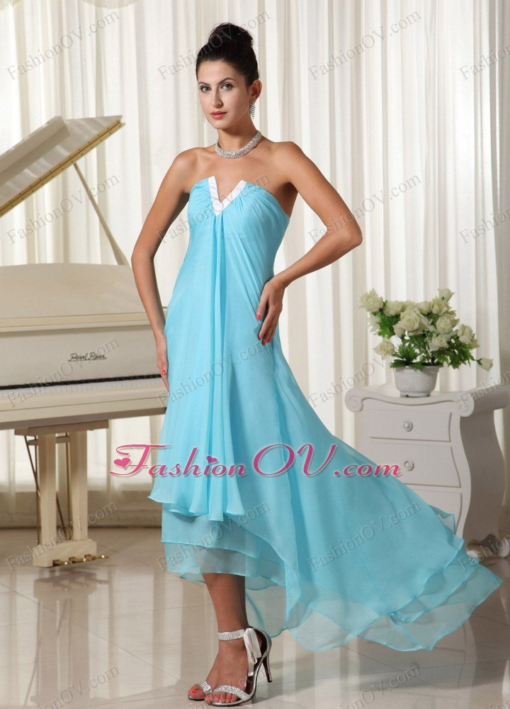 Layers Baby Blue 2013 Chiffon Prom Dress High-low for Party