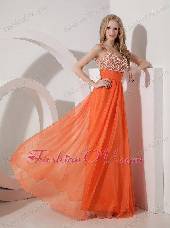 Orange Straps Empire Chiffon Beading Prom Dress