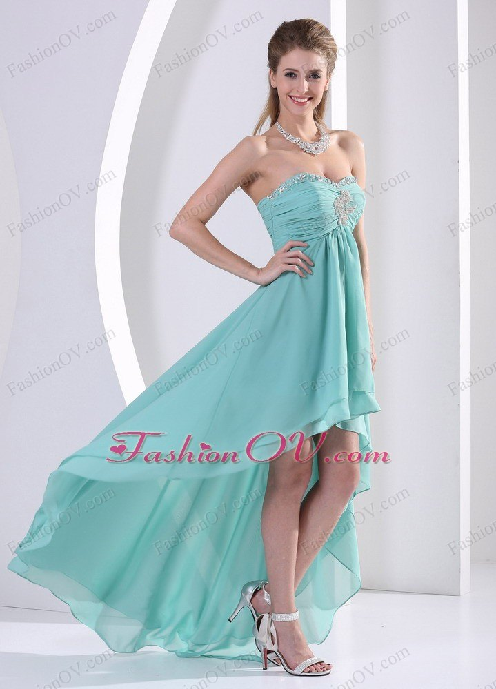 High-low Sweetheart Turquoise Prom Dress Ruch