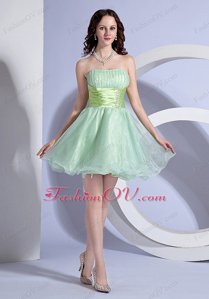 Apple Green Mini-length Beading Wasit Prom Dress
