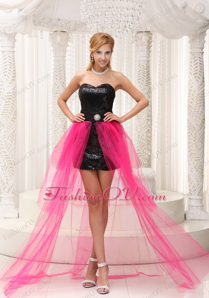 Hot Pink High-low Prom Dress For Paillette Over Skirt Beading - $123.39