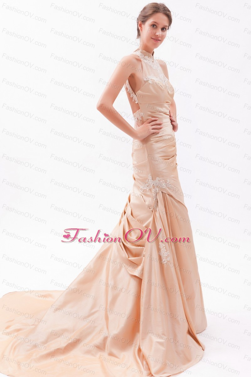 Mermaid Prom Dress Champagne High-neck Court Embroidery