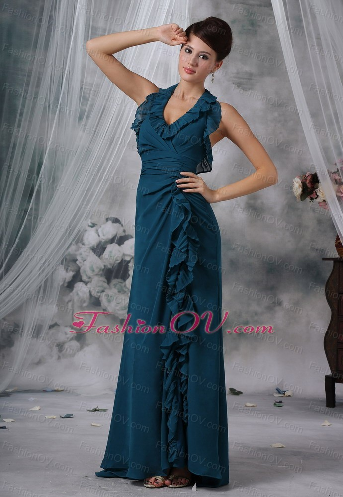 High Slit Green Chiffon Prom / Evening Dress Brush Train