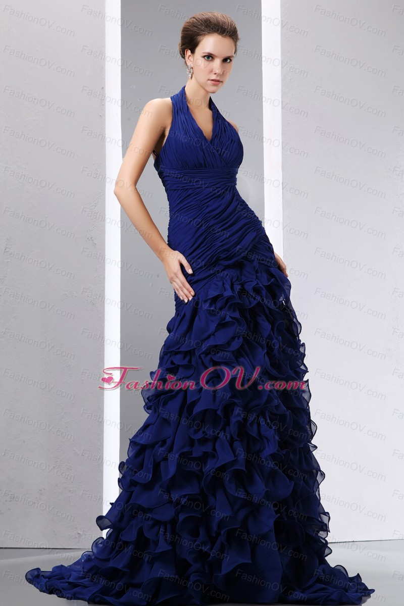 Navy Blue Mermaid Halter Brush Train Ruch and Ruffles Prom Dress