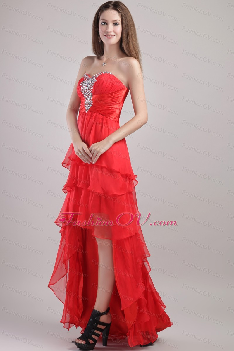High-low Beading Red Prom Dress Organza Layered Ruffles