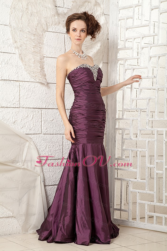 Dark Purple Sweetheart Beading Prom Dress Brush Train