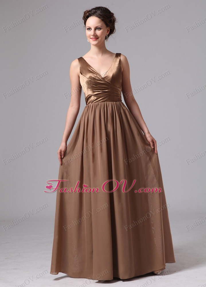 V-neck Evening Pageant Dress Custom Made Satin and Chiffon