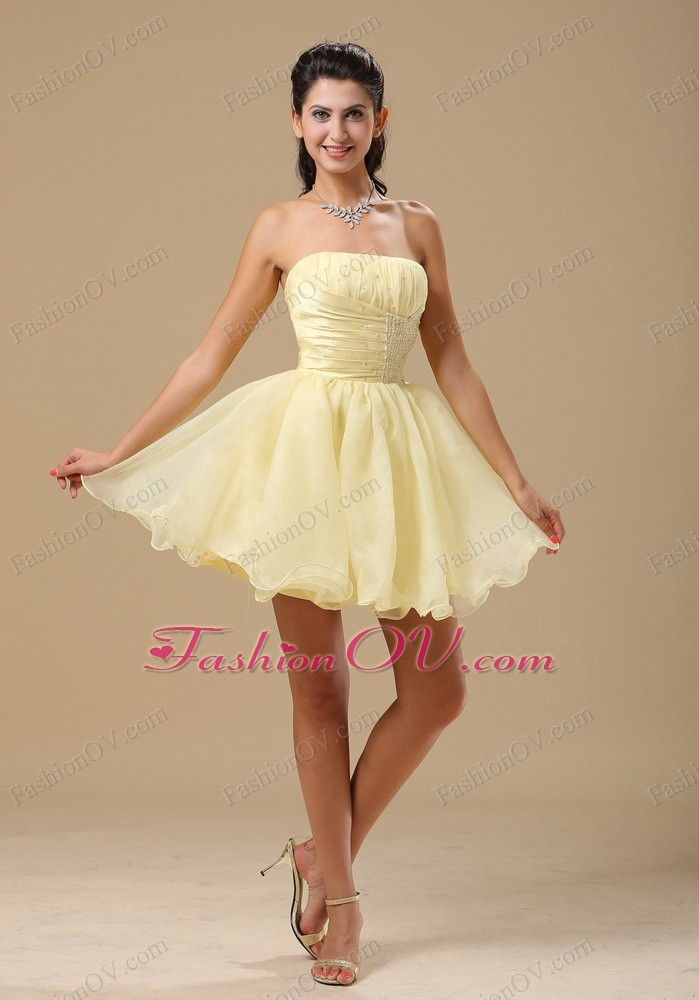 Light Yellow Dama Dresses for Quinceanera Beaded Ruch