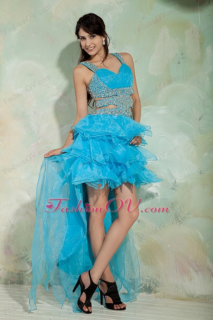 Ruffled Sky Blue Straps Beading Prom Dress High-low