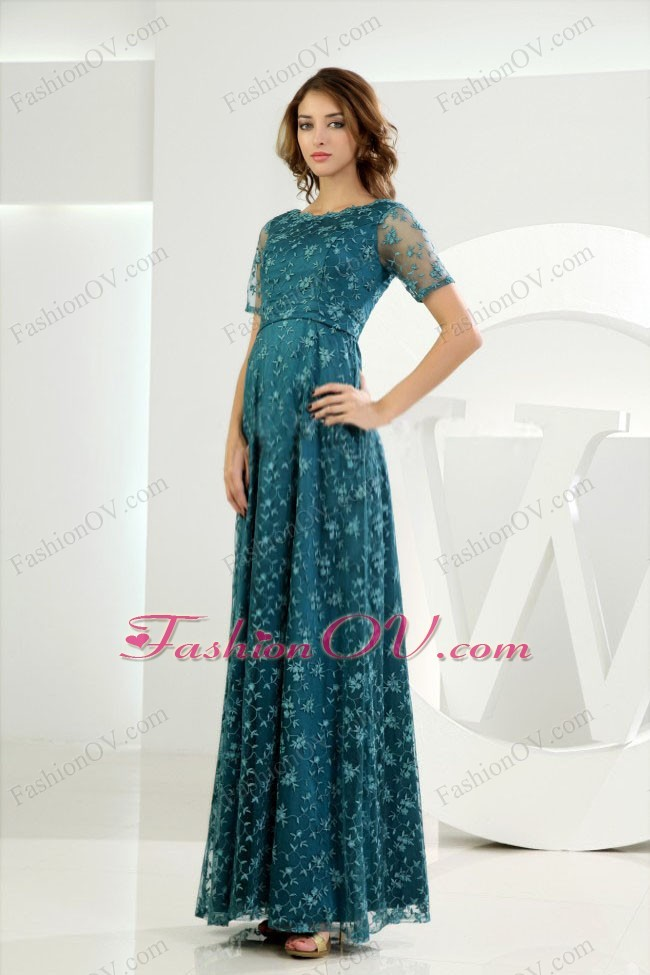 Embroidery Sleeves Tulle Prom Homecoming Dress Teal