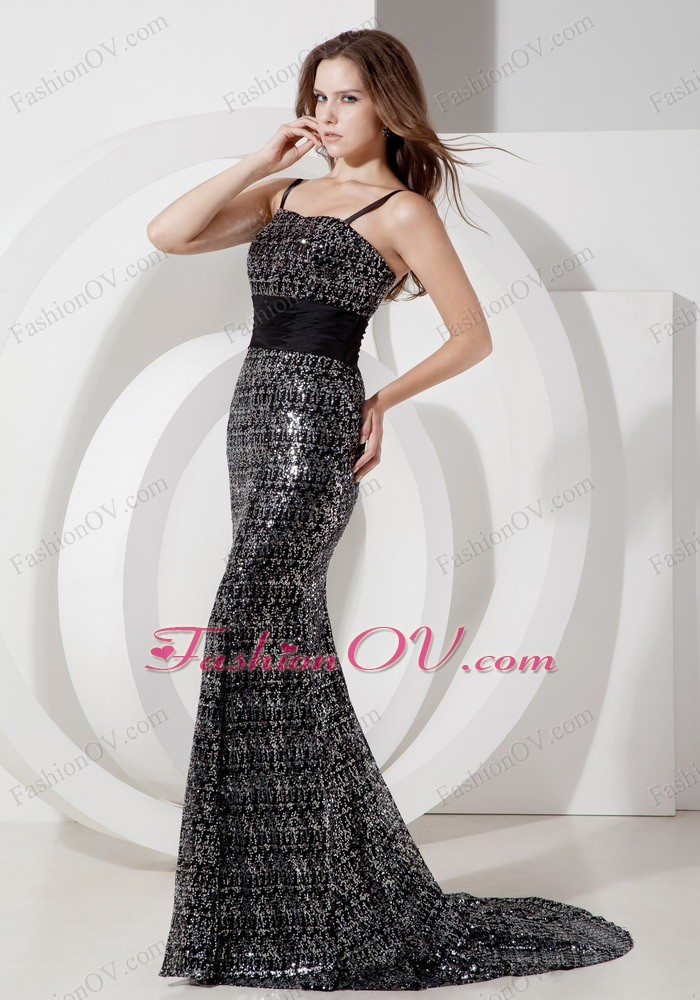Black Sequins Mermaid Straps Belt Celebrity Evening Dress